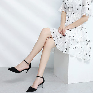 Image 2 - Shoes Woman 2020 Thin High Heels Office Lady Career Flock Pointed Toe Ankle Strap Two Piece Elegant Sexy Heel Heeled Sandals