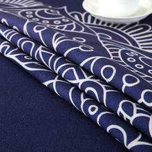 Round National Style Tablecloth Blue Waterproof Cotton Linen Dining Table Cover Restaurant Kitchen High Quality Table Cloth