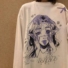 Cotton Women Casual Tshirt White Cartoon Funny Girl Streetwear Female Tops Tee Long Sleeve Fashion T Shirt Hip Hop Clothes