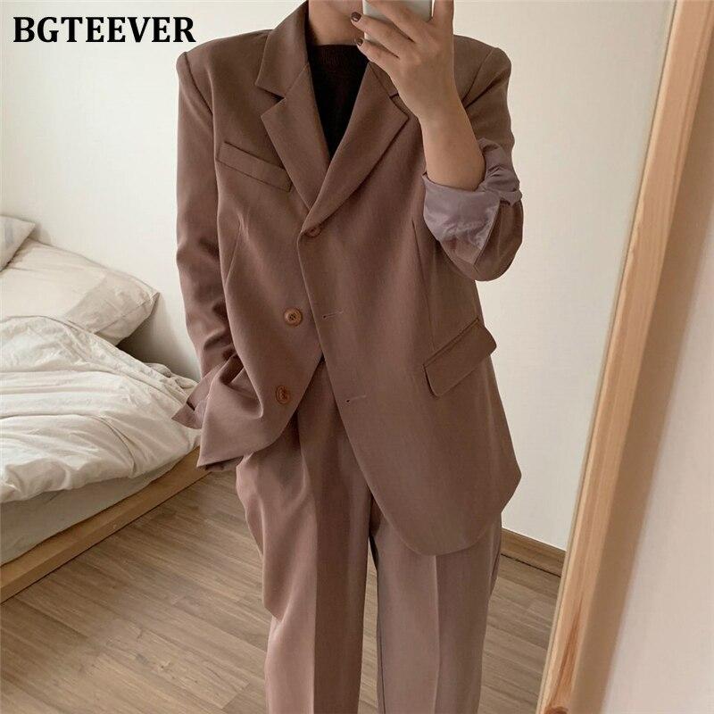 BGTEEVER Casual Single-breasted Women Blazer Set Streetwear Women Pant Suits 2020 Vintage Two Pieces Set Women Trouser Suit