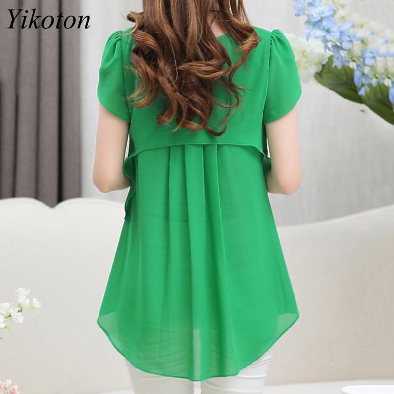 Yikoton 2021 New Summer Women Blouse Loose Shirt O-Neck Chiffon Blouses Female Short Sleeve Blouse Plus Size Shirts Tops Blusas 2