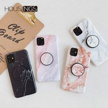 Marble Holder Phone Case For iPhone 11 Pro Luxury Soft IMD Clear Cover Fashion Simple Shockproof Coque Shell