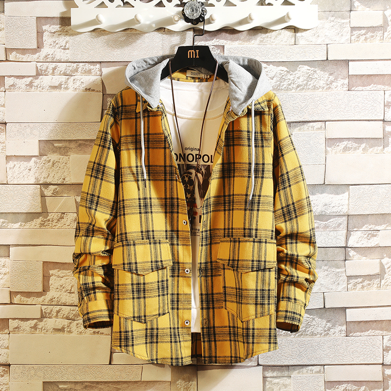 HIP HOP Streetwear Casual Plaid Shirt Men Long Sleeve High Quality 2020 Loose With Hooded