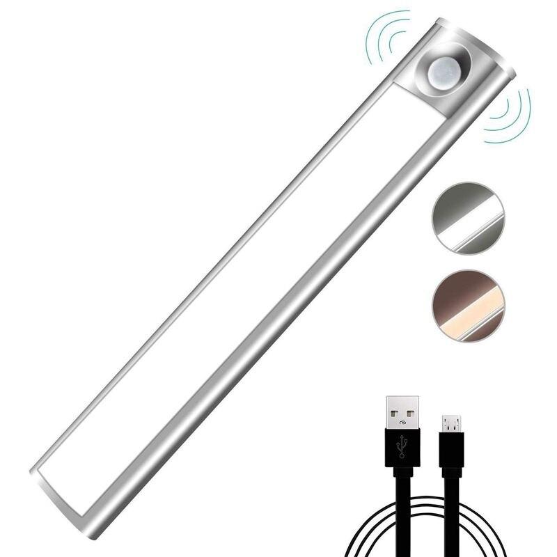 Датчик движения света, светодиодный шкаф ночник USB Перезаряжаемый автоматический 33 LED с магнитной клейкой лентой для шкафа