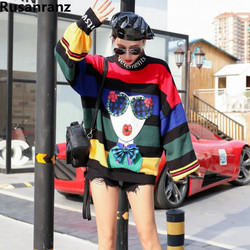 2018 Autumn Winter Fashion Brand Hip Hop Womens Cartoon Sequins Large Pullover Knitted Womens Sweaters