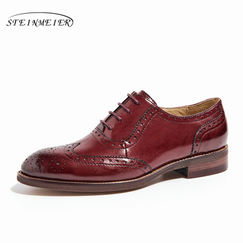 Women Genuine leather shoes brogues yinzo lady flats shoes vintage handmade sneakers oxford shoes for women brown black blue red