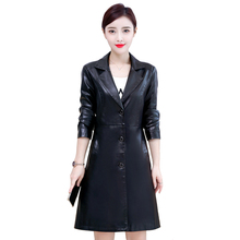 Faux Leather Jackets Women Plus Size 5XL Autumn Winter Long Leather Trench Coat Female Single Breasted Black Pu Leather Jacket new 2018 fashion long single breasted autumn female leather jacket women winter plus size 5xl faux leather trench coat