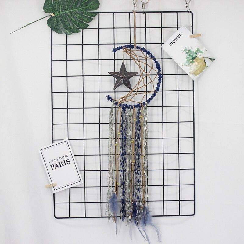 Retro Dream Catcher Feather Handmade Blue Dream Catcher Net With feathers Car-Wall Hanging Ornament Craft Dreamcatcher Gift