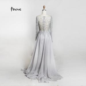 Image 5 - 댄스 파티 드레스 파티 긴 소매 크리스탈 손으로 구슬 섹시한 시스루 a 라인 신부 들러리 드레스 Robe de Soiree Finove
