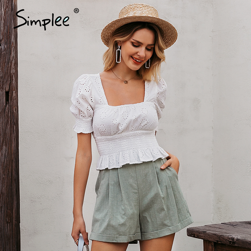 Simplee Vintage White Embroidery Crop Women Blouse Shirt Lady Square Collar Short Shirt Female Hollow Out Puplem Mujer Blusa