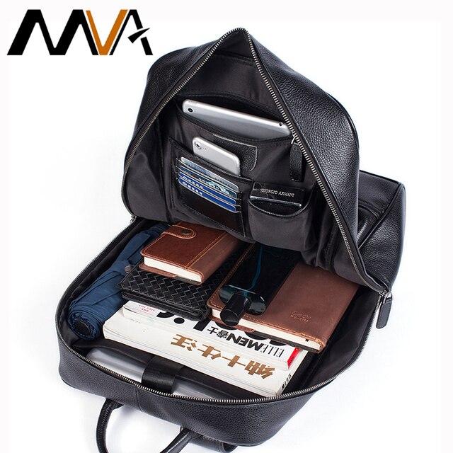 MVA sacs à dos en cuir véritable pour homme, cartable de grande capacité, sac à dos pour ordinateur portable étanche, sac de voyage, sac de jour pour adolescent