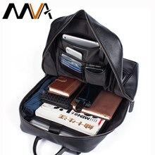 MVA الرجال حقائب الظهر جلد طبيعي سعة كبيرة حقيبة مدرسية محمول على ظهره مقاوم للماء السفر مصمم المراهقين daypack للرجال