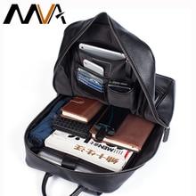 Mva男性本革大容量通学男性のためのノートパソコンのバックパック防水旅行desingerティーンエイジャーデイパック