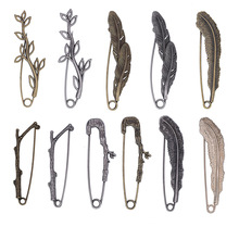 Retro Branches Leaves Brooches Anti-gloss Pins Vintage Women Cardigan Clip Scarf Buckle Men Suit Lapel Pin Bag Hat Accessories