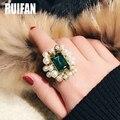 Винтажные золотые Цвет большой зелеными кристаллами ручной работы; Комплект: жемчуг кольца для женщин женские модные ювелирные изделия 2020 ...