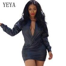 YEYA Deep V Neck Short Dress Retor Long Sleeve Bodycon Bandage Party Mini New Hot Sexy Elegant Night Vestidos