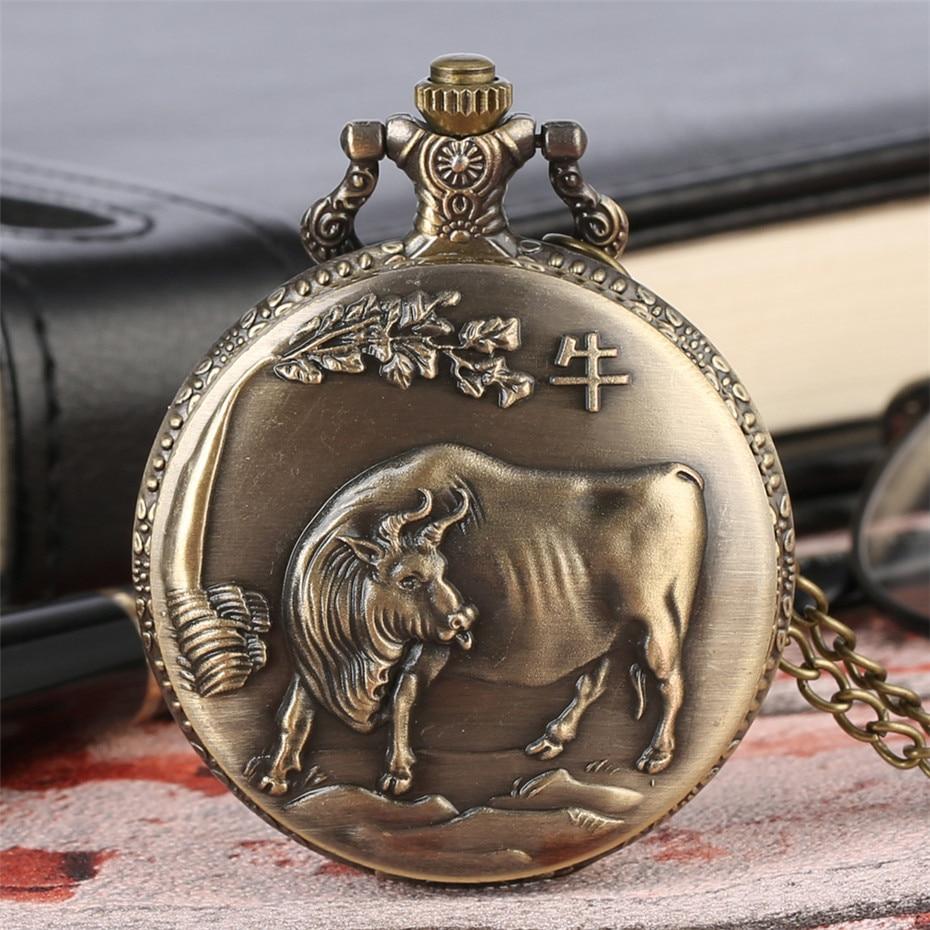 Chinese Zodiac Ox Design Quartz Pocket Watch Pendant Clock Fob Necklace/Pocket Chain Full Hunter