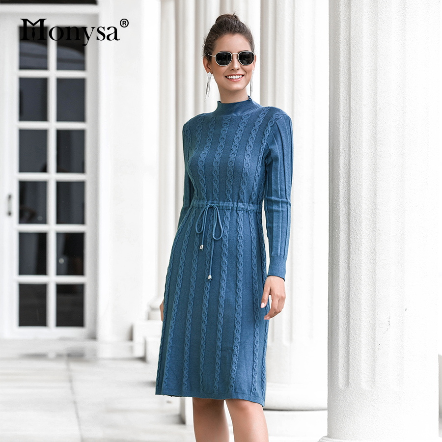 Autumn Winter Dresses 2019 New Arrival Fashion Casual Knee Length Knitted Dress Ladies Long Sleeve Sweater Dresses Black Blue 62