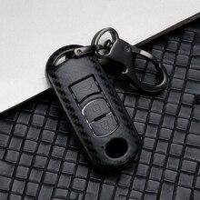 Carbon Fiber Car Key Case Cover For Mazda 2 3 6 Atenza Axela Demio CX-5 CX5 CX-3 CX-7 CX-9 MX5 2014 2015 2016 2017 2/3 Buttons carbon car key case for mazda 3 5 6 cx 3 cx 4 cx 5 cx 7 axela atenza smart remote fob protector cover keychain bag accessories