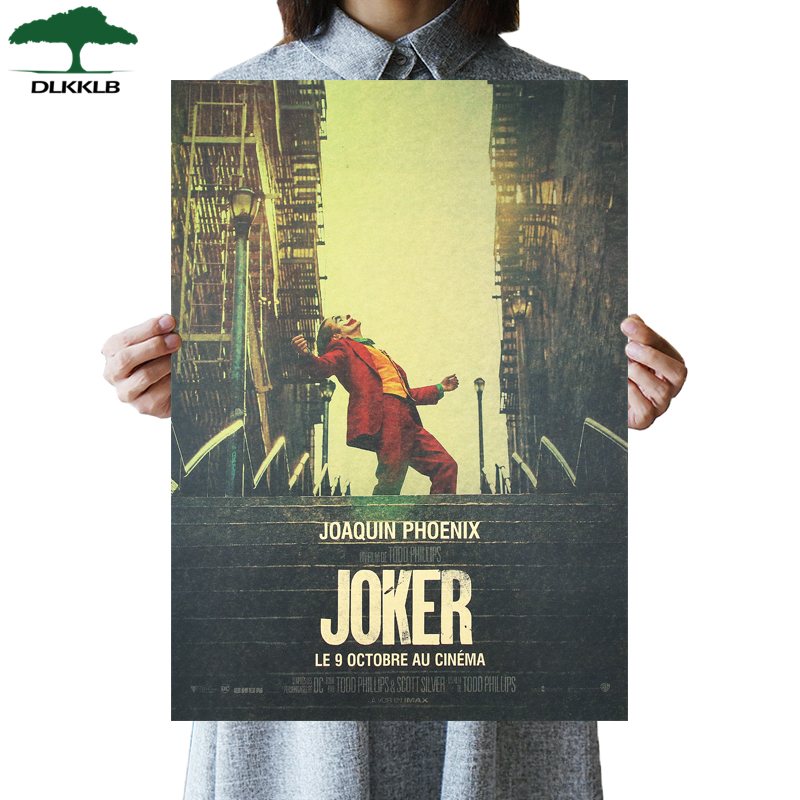 DLKKLB New Movie Poster Joker Kraft Paper Batman's Enemy Vintage Style DC Wall Sticker 51x36cm Home Bedroom Decorative Painting