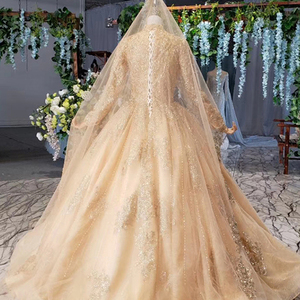 Image 4 - HTL258G muslim wedding dresses long sleeves high neck bead gold bride dress party with bridal veil robe mariage boheme