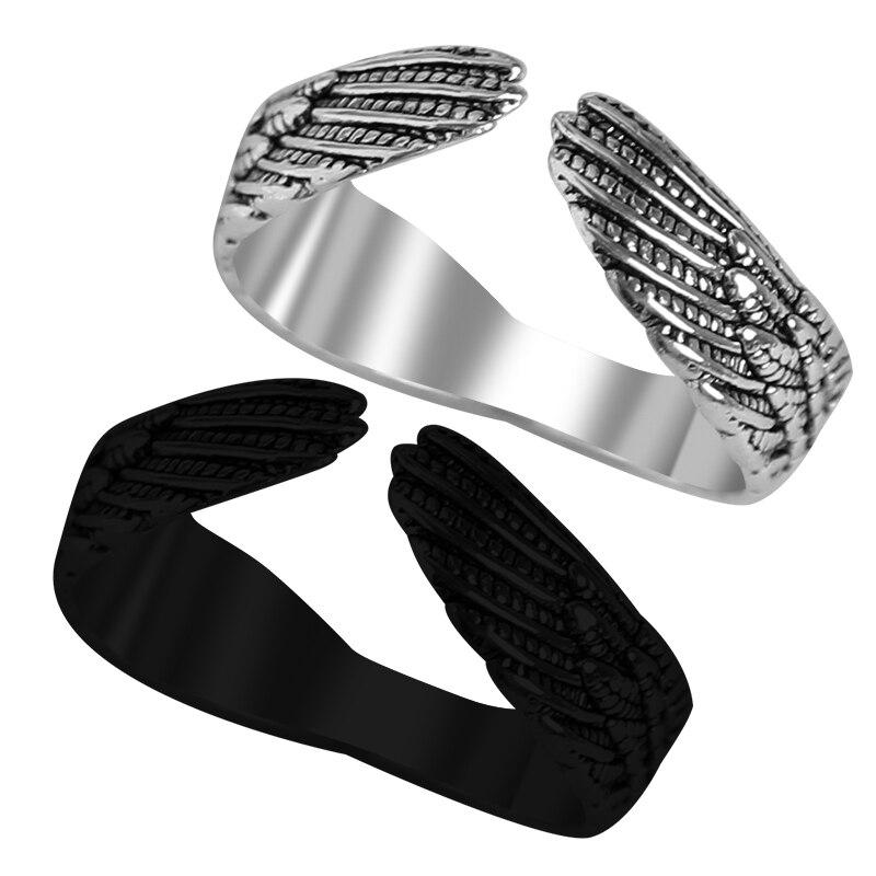 Готическое креативное кольцо в стиле панк, модное мужское и женское ретро кольцо из сплава с крыльями ангела, кольцо в стиле хип-хоп, регулир...