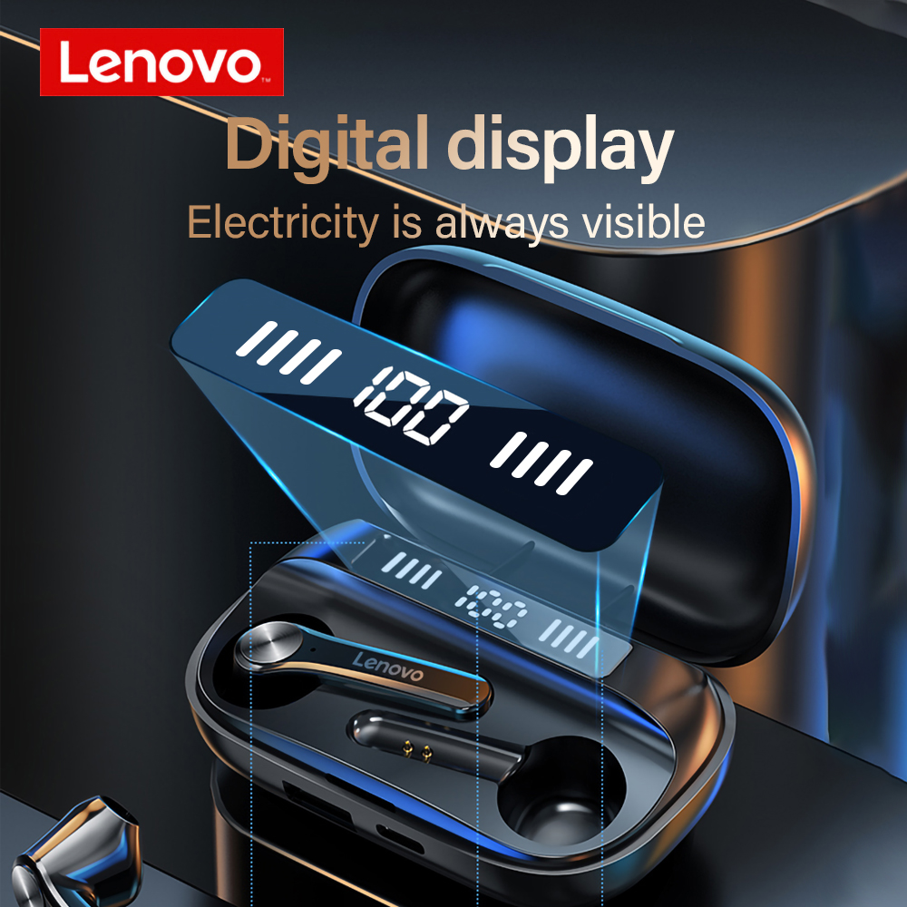 Lenovo-auriculares inalámbricos QT81 con Bluetooth, LARGA RESISTENCIA LED, con estuche de carga de 1200mAh, alimentación móvil, versión mejorada