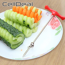 Vegetables Spiral Knife Potato Carrot Cucumber Chopper Carving Tool Manual Easy Spiral Screw Slicer Stainless Steel Kitchen Tool