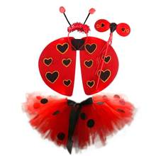 4pcs in 1 Set Performance Costume Set Ladybug Performance Cosplay Dress Wings Headband Fairy Wand for Kids Party Halloween Girls(China)
