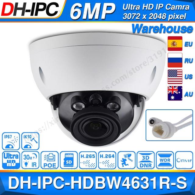 Dahua IPC HDBW4631R S 6MP POE IP Cámara soporte 30M IR IK10 IP67 POE H.265 ranura para tarjeta SD WDR Actualización de IPC HDBW4431R S