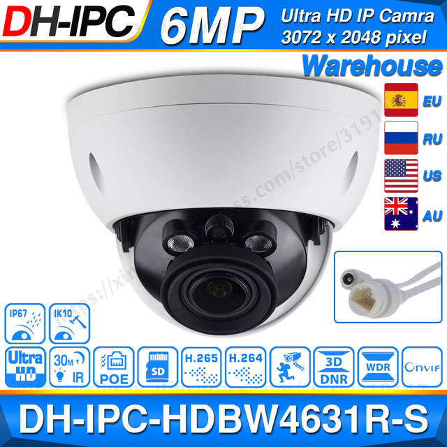 Dahua IPC HDBW4631R S 6MP POE IP Camera Support 30M IR IK10 IP67 POE H.265 SD Card Slot WDR Upgrade From IPC HDBW4431R S