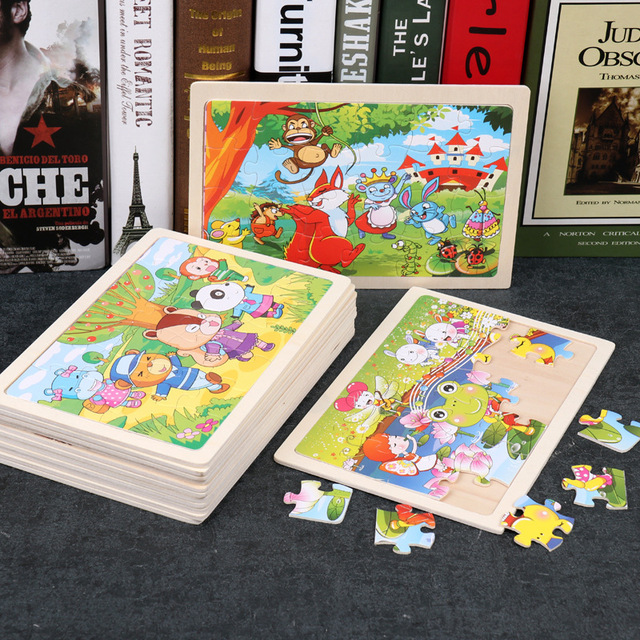 24 Slice Wood Puzzles Children Adults Vehicle Puzzles Wooden Toys Learning Education Environmental Assemble Educational Games 2