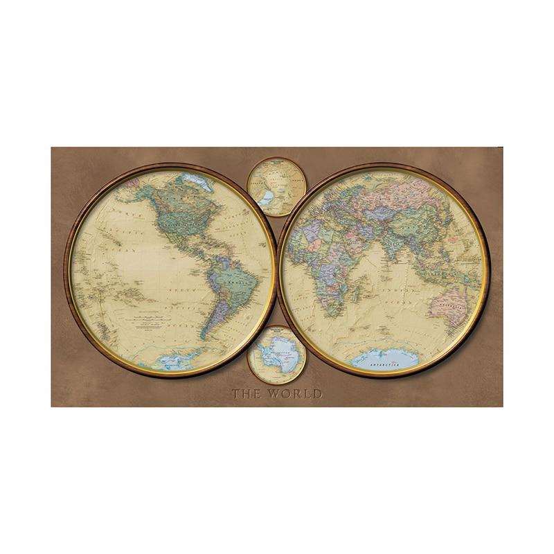 Retro Style World Map 150x100cm Non-woven Fun Map Creative Decorative Map For Home Decor