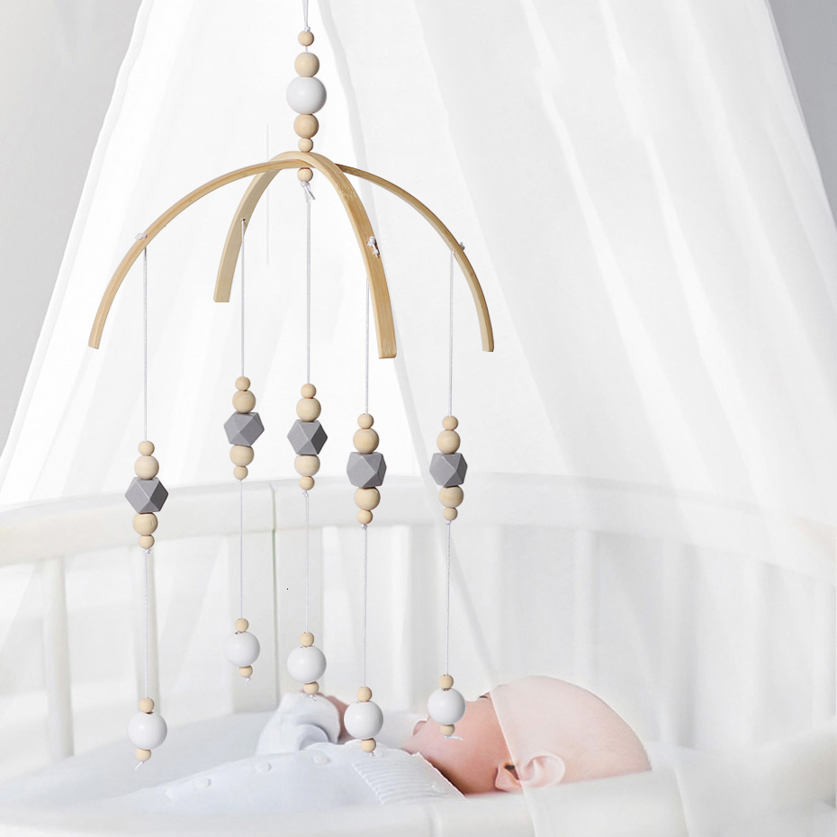 Baby Rattle Mobile Toys Wooden Beads Crib Toy Bed Hanging Newborn Wind Chimes Bell Nordic Kids Room Decoration Photography Props