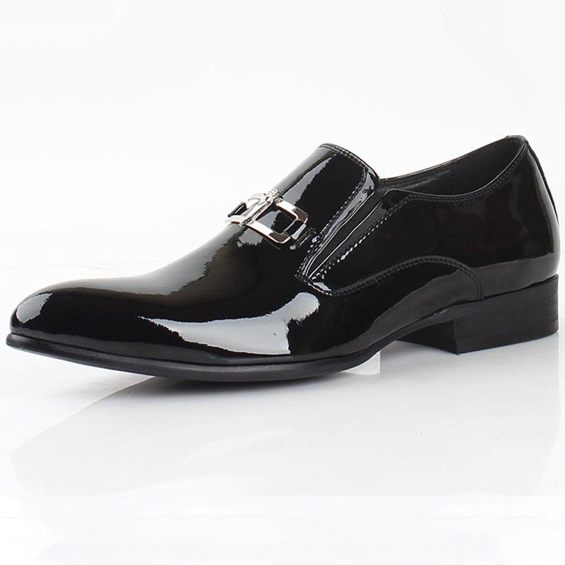 Handmade Patent Leather Oxfords Shoes Black Mens Dress Shoes Genuine Leather Business Shoes Formal Wedding Shoes