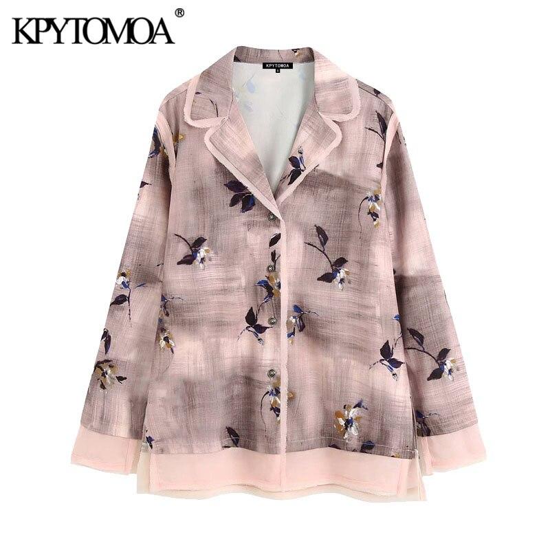 KPYTOMOA Women 2020 Fashion Frayed Trims Printed Blouses Vintage Lapel Collar Long Sleeve Side Vents Female Shirts Chic Tops