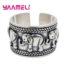Band-Rings Indian S925-Sterling-Silver Finger-Accessories Opening Elephant-Painting Adjustable