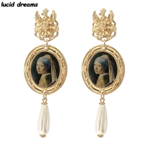 New Design Gold Color Long Big Drop Earrings For Women Vintage Style Baroque Pearl Dangle Earrings Statement Jewelry Friend Gift [nymph] fine jewelry long tassel pearl earrings natural big baroque pearl drop earrings for women party e321