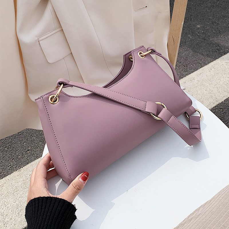 Solid Color Simply Shoulder Bags For Women 2020 Fashion PU Leather Handbags Female Luxury Hand Bag Lady Travel Bags
