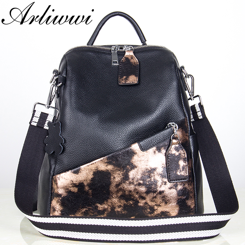 Arliwwi Brand Designer Genuine Leather Backpack Functional Patchwork Shiny Real Cow Leather Back Bags New