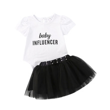 2020 Newborn Baby Girls Summer Clothes Short Sleeve Letter Print Romper Multi-layer Pearl Embellished Gauze Skirt Outfits 0-24M girls letter print patch detail tee with skirt
