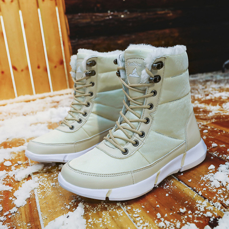 Image 4 - Women Boots 2019 Winter Shoes Woman Snow Boots With Plush Inside Shoes winter Waterproof Plus Winter Boots Rubber Female Booties-in Ankle Boots from Shoes
