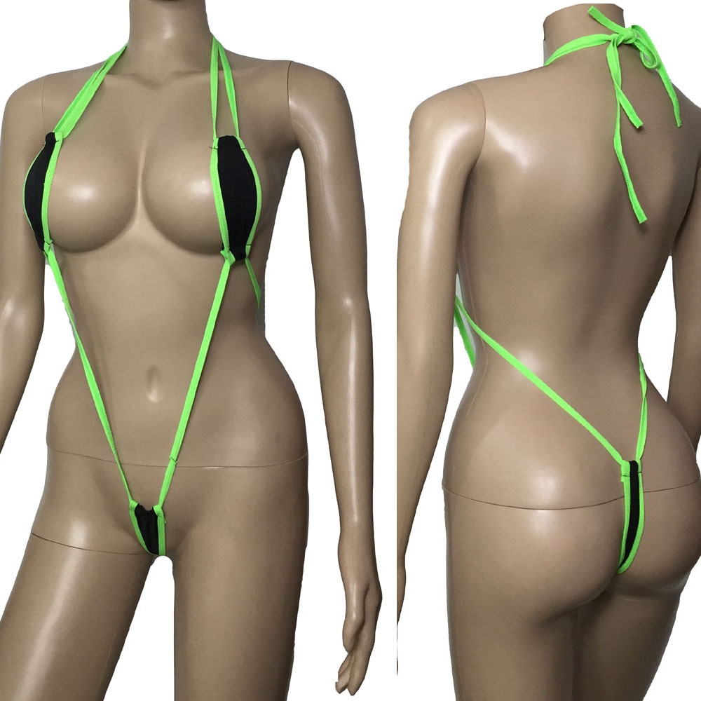 Women One-piece Slingshot Lingerie Mini Micro G-String Thong Leotard Bikini Monokini Sexy Swimwear Trikini Bra