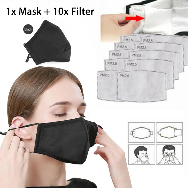 YELITE Masks Ffp3 With Valve With 10 Carbon Filters Reusable Anti Pollution PM2.5 Unisex Mouth Muffle Face Mask Fpp3 Respirator