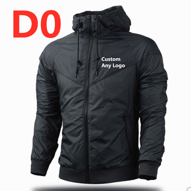 D0 2019 New Style Men's Custom Any Brand Pattern Plus Size Zip Patchwork With Hat Zipper Pocket Jacket Long Sleeve Thin Outwear