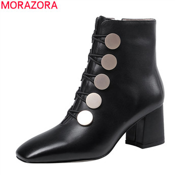 MORAZORA autumn new arrive simple ankle boots comfortable high heel square toe black ladies shoes genuine leather women boots