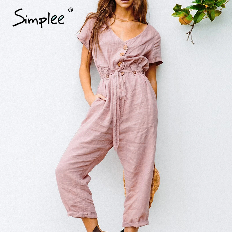 Simplee Casual V Neck Sashes Women Jumpsuits Short Sleeve Buttons Cotton Jumpsuit Rompers Spring Summer Office Ladies Overalls