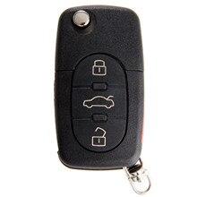 4 botões Remoto Virar Folding Caso Shell Chave Para Audi A4 A6 A8 TT Quattro S4 S8 CR2032 Substituição Keyless fob