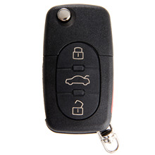 4 düğmeler Uzaktan Katlanır Anahtar Shell Kılıf Kapak Için Audi A4 A6 A8 Quattro TT S4 S8 CR2032 Yedek Anahtarsız fob