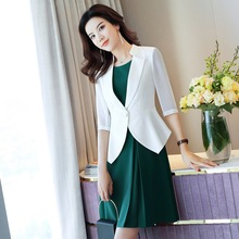 Office Suit with Dress Woman Suits 3/4 Sleeve Blazer+Short Ruffle Wear Business ow0522